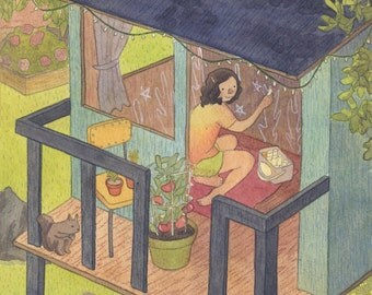 Treehouse Original Illustration Painting