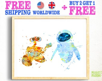 Disney Wall-E and EVE Watercolor Poster Print - Watercolor Painting - Home Decor - Wall Art - Kids Decor - Nursery Decor - 157