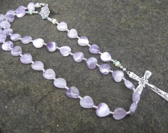 Beads of the Sacred Heart Chaplet - Amethyst and Australian Opal