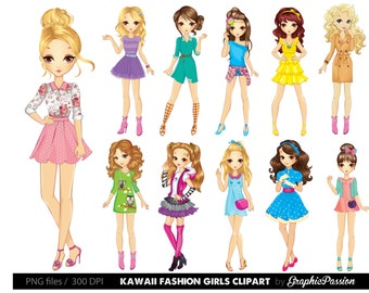 50% OFF Cartoon girl clipart Kawaii girls clipart Fashion girls clipart Fashion lady clipart Girls party clipart Women Clipart Girls clipart
