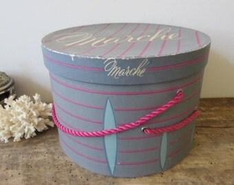 Vintage Marche Hat Box Small Storage Box Gray Pink Turquoise Closet Accessory Small Hat Box