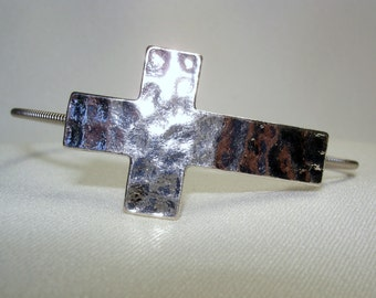 Guitar String Bracelet Silver Hammered Cross Slider
