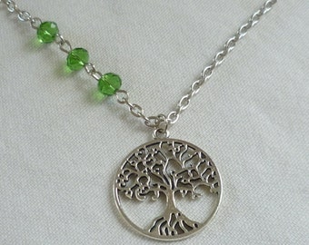 Tree of life necklace,silver tree necklace,beaded tree of life,wiccan jewelry,tree of life jewellery,handmade,gift,pagan jewellery