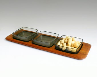 Vintage serving tray Digsmed Denmark teak party platter Mid Century