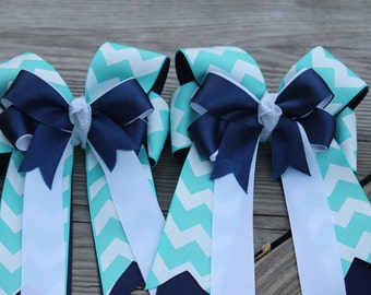 Navy and Aqua Chevron Show Bows