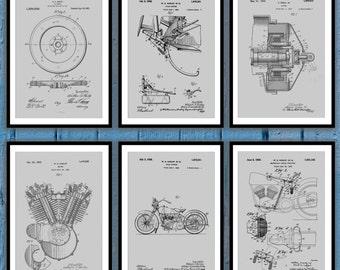 Harley Davidson Patent Print Set Of 6, Harley Davidson Poster, motorcycle prints, Harley Poster,Harley Davidson Motorcycle, Harley