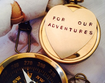 wedding gift . Working compass key chain. For our adventures - wedding favors - boyfriend