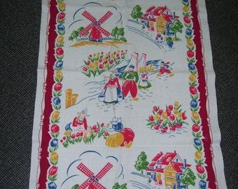 Dutch Dish Towel Holland Dish Towel Windmill Dish Towel Dutch Kitchen Towel