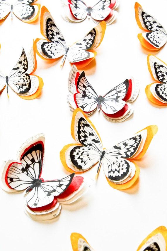 Papillons rouges papillons orange d coration murale papillon for Decoration murale papillon 3d