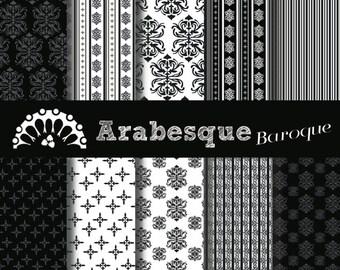 Digital paper Arabesque Baroque Black & White