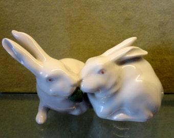 "Royal Copenhagen ""Pair of White Rabbits"" Figurine #518"