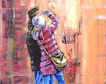 Original Figurative painting of City tourists by Barry Baxter