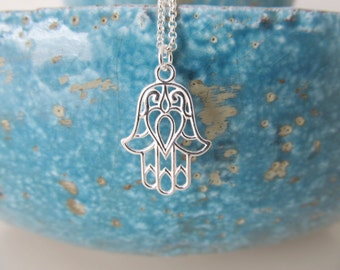 Sterling silver hamsa necklace, hamsa necklace, yoga necklace
