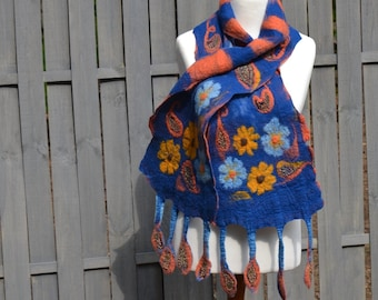 Nuno Felt scarf BLUE Women two-sided Nuno Felted scarves Handmade OOAK Fiber art