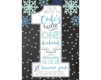 Winter First Birthday Invitation, Winter Onederland, Boho, Printable Invites (535)