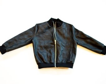 Black Faux Leather Bomber Jacket Baby/Toddler/Child