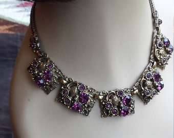 Vintage purple amythyst faceted crystal necklace