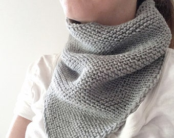 Handknitted triangle tube cowl for adult 100% wool - light grey