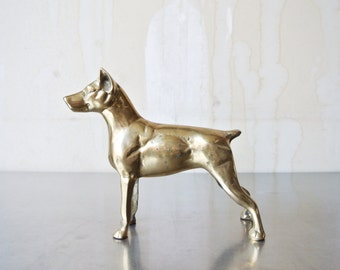 Vintage Brass Doberman Pinscher - Vintage Brass Dog - Brass Figurines - Vintage Brass Paperweight - Doberman Pinscher Statue - Dog Statue