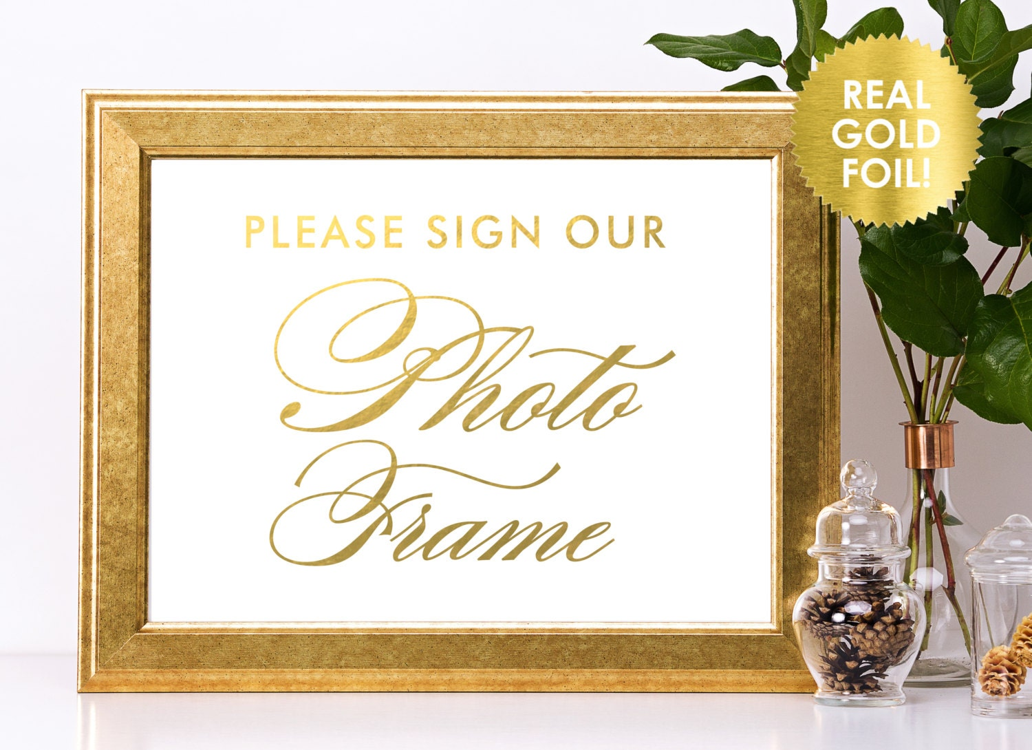 PHOTO FRAME Wedding Signs in Gold Foil / Please Sign Our Photo Frame ...