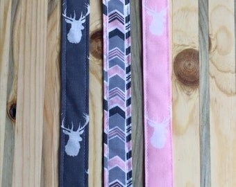 Pink and Gray Buck or Arrow Pacifier Clips for your Binky