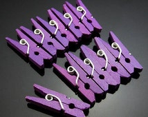 Purple Mini Pegs Mini Purple Wood Clothes Pegs. - For Craft, Events, Bonboniere Bags - Wooden Clothespins