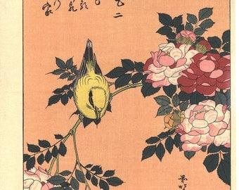 "Japanese Ukiyo-e Woodblock print, Hokusai, ""Warbler and Roses"""