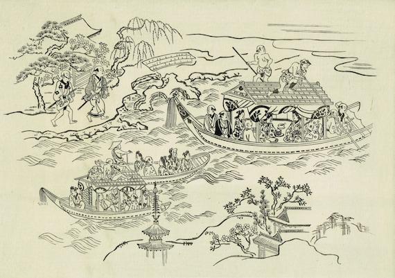 """Japanese Ukiyo-e Woodblock print, Hishikawa Moronobu, """"Boating on Sumida River"""""""