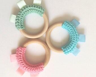 Tag Teether, Baby Crochet Wood Teething Ring