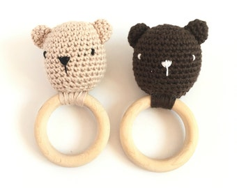 Mr. Bear Teething Rattle Ring, Crochet Baby Teether Toy