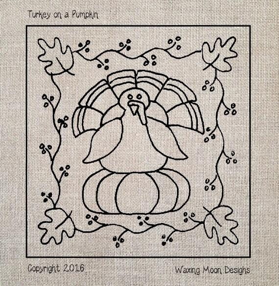 Turkey on a pumpkin hand drawn pattern for rug hooking