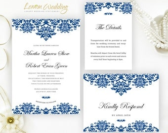 Royal Blue Wedding Invitation Set Printed On White Shimmer Cardstock Cheap Invitations Info