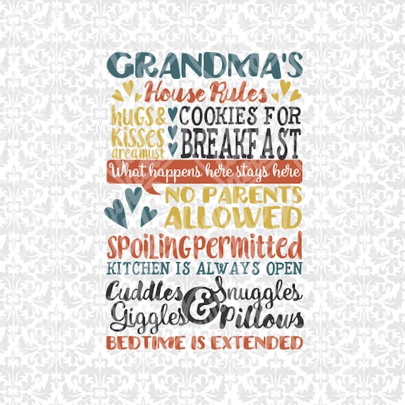 Grandma's House Rules - Subway Art SVG STUDIO Ai EPS scalable vector instant download commercial use cutting file cricut silhouette