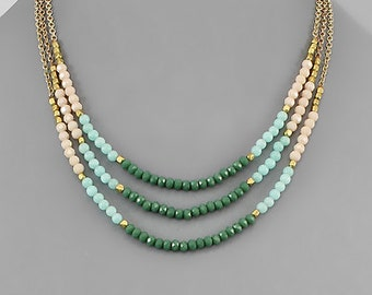Sage, Mint & Peach Stone Layer Necklace