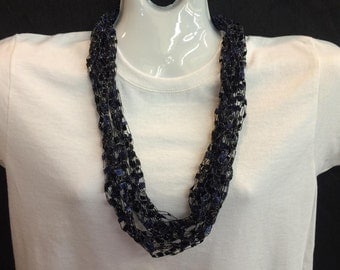 Navy crocheted ribbon necklace #116