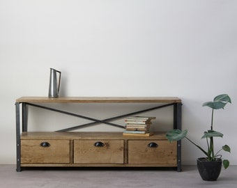 1.2m Oak INDUSTRIAL TV Stand, Console Drawers [Bespoke sizes!] Rustic Reclaimed