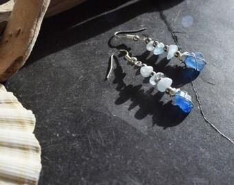 Blue seaglass earrings with aquamarine gemstones