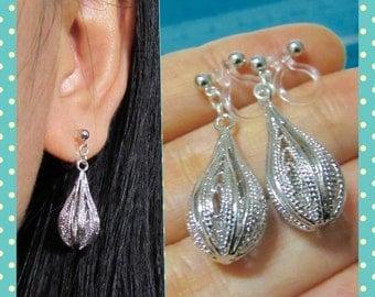 Lantern Filigree Clip on earrings |31| Silver tone non pierced earrings, Simple clip-ons, dangle clip earrings, Pear shape teardrop clipons
