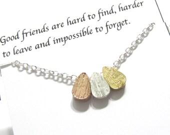 Friendship Necklace, Best Friend Necklace| Silver A5 triple teardrop |  Best Friend Gift, gift for friend, Best Friend Friendship Jewelry