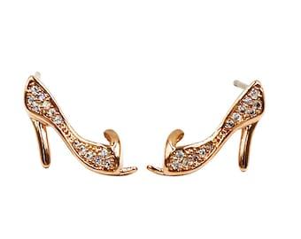 Mini heeled shoes crystal earrings