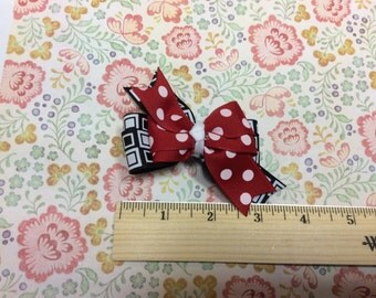 Red White Black Print Hair Bow