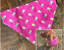 Pineapple Dog Bandana| Pet Scarf| Beach House| Summer Fun|Over Collar Bandana pink pinapples