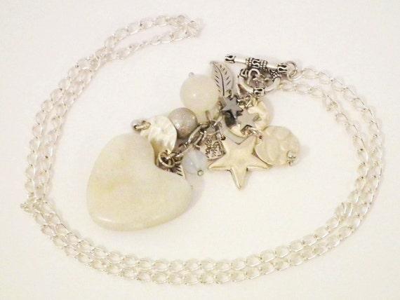 Long White Marble Heart Necklace with Gems & Charms