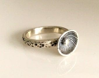 Handmade Sterling Silver Spiral Pod Ring,rustic,museum,ancient,modern,artisan,folk art,boho,artifact,recycled silver,abstract,organic