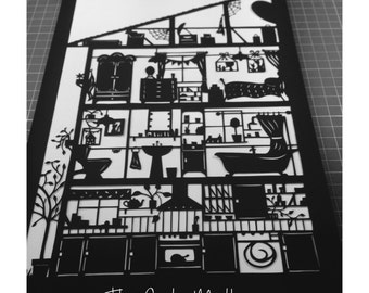 My House - Left Side -  Paper Cutting Template Personal And Commercial Use