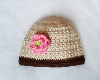 Crochet Baby Girl Beanie Hat. Tan and brown with pink flower. Girl Baby Shower gift. Sizes Preemie to adult. Discount coupons available.