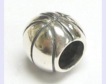 """20 Silver Tone Basketball European Charm Beads 11x10mm(3/8""""x3/8"""")"""