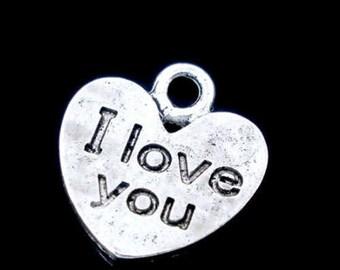 50 Silver Tone Love Heart Charm Drops/Pendants 12x11mm