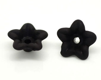 800 Black Lily Flower Frosted Acrylic Beads 10x4mm