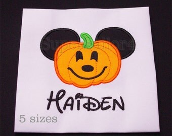 Mouse Pumpkin applique design, Halloween applique design, Mickey Pumpkin applique